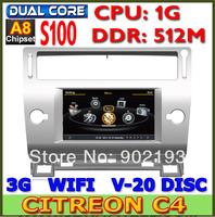 WAYWELL Car DVD for Citroen C4 C-Triomphe C-Quatre with 1G CPU 512M DDR S100 A8 Radio 3G Host GPS Russian menu Navitel 7.5 MAP