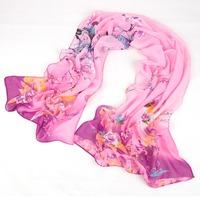 Free Shipping Free Shipping wholesale Scarf autumn and winter female long silk scarf chiffon print 10
