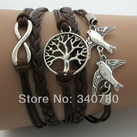 2014 New Infinity Wish Tree & Couple bird Charm Bracelet--Antique Silver Bracelet--Wax Cords and Imitation Leather Bracelet N01