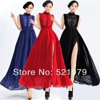 Wholesale Cheap sleeveless casual cute dresses for women elegant floral chiffon maxi long dress new fashion 2014 spring summer