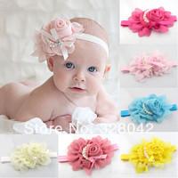 Trail order 13 colors New Style chiffon big flower headband girl baby girl pearl satin bow headwear hair accessories 24pcs/lot