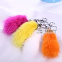 Fur accessories fox fur wool car key l ring key chain bags pendant diamond keychain