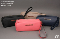 Free shipping designer brand new zipper wallet  women fashion coin purse wristlet SF90091 navy blue beige pink black