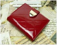 Short design female wallet plaid japanned leather patent leather elegant quality female wallet