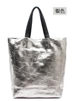 Fashion 2015 metallic color vintage genuine crack cowhide leather north south handbags large capacity B213