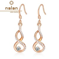 Earings fashion 2014 free shipping wholesale genuine Austrian crystal earrings rose gold gourd E2020108290