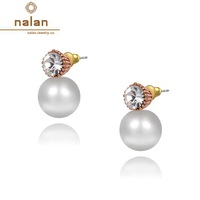 Nalan Earings fashion 2014 free shipping wholesale Austrian crystal rose gold round opal earrings E2020111290