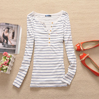 2014 New Women Spring Summer Bottom Navy Stripe Long Sleeve Shirts,Fashion 100% Cotton Tops,Girls' cheap T-Shirts,Free Shipping