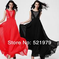 Wholesale sleeveless evening dresses for women elegant floral chiffon maxi long dress new fashion 2014 spring summer dress