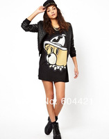 Free Shipping 2014 Spring/Summer New European Style Cartoon Penguin Printed Round Neck Short-sleeve T-shirt Women