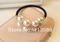 25pcs/lot Free shipping HA0378 Alloy hand chain string of pearls hair rope diamond hair bands