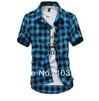 2014 summer cheap Classic Short-sleeved men  plaid shirt casual shirt Size:M L XL XXL