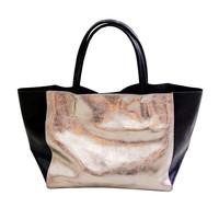 2014  contrast color genuine leather bag cowhide women's handbag metal color neon