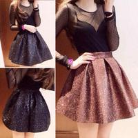 2014 spring solid color bling diamond bust girl  skirt short  skirts black brown