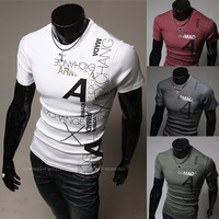 Hot!!!!! Free shipping men's short sleeve T-shirt A letter printing high-quality short sleeve T-shirt. 4 color. Size M - XXL