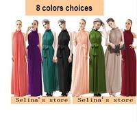 2014 New fashion women Bohemian Pink Maxi Chiffon Long Dresses Vestidos de fiesta Growns With Belt 8 Color Beach Summer Dress