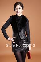 2014Spring WOMEN Girl's Short Genuine Leather Waistcoat  Vest With Fox Fur Collar Sheepskin Leather Vest Women C0905