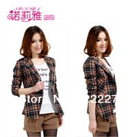 Free shipping, Autumn women plaid jacket, Korean casual suit jacket lapel short paragraph