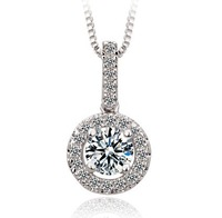 2014 New  925 Sliver Plated Flower Crystal Flower Pendant Necklace For Women Zircon High Quality Valentine's Day Gift