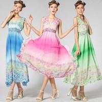 Fashion 2014 New In Women's Long Chiffon Dresses Bohemian Style Sleeveless Shivering Print Elastic Slim Waist Deep V Neck Dress