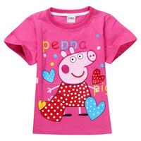 2014 New Girls T shirts 5pcs/lot Wholesale Short Sleeve Summer 100% Cotton T shirt For Baby Boy Peppa Pig Tshirts