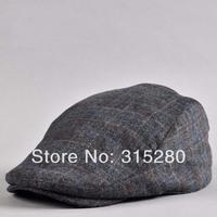 Men winter popular casual woolen plaid ivy hats
