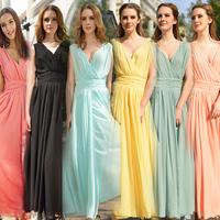 Elegant Women's Chiffon Long Dresses 2014 New Arrivals V-neck Sleeveless Slim Waist Expansion Bottom Female Chiffon Maxi Dresses