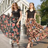 Elegant Women's Long Dresses 2014 New In Lace Splicing Short Sleeves V-neck Expansion Bottom Female Maxi Dresses