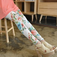 Vintage Flower Printed Legging New 2014 Spring Summer Fashion Thin Elastic Print Floral Leggings For Women Skinny Pants