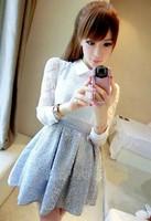 8 autumn elegant ladies perspective lace paillette slim waist long-sleeve dress formal dress