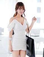 91 2014 chain spaghetti strap one-piece dress one-piece dress short skirt step skirt