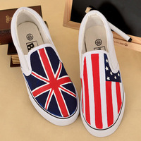 2014 New Hand Painted UK Flag&American Flag Unisex Canvas Women/Men Fashion Sneakers Lover Shoes Plus size 9,9.5,10,10.5,12