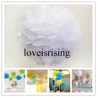 "Free shipping-20pcs 15cm (6"") White Tissue Paper Pom Poms Wedding Party Decor Flower Balls For Baby Room Decor-20 Colors"