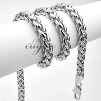 New Fashion Jewelry 5mm Mens Womens Wheat Style Link Chain 18K White Gold Filled Necklace Free Shipping Gold Jewellery C02WN