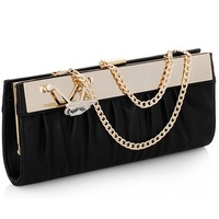 2014 New Fashion Style Pu Leather Designer Brand Evening Bag Chain Party Bags Purse For Women Crystal Clutch Bag Banquet Handbag