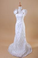 Fashion lace flower bow fish tail wedding dress 2014
