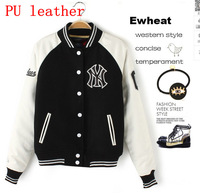 Free Shipping 2014 New Women's Baseball Uniform  Sport PU Piga Thick Coat Plus Cotton Long-Sleeved Baseball Uniform Jacket
