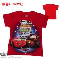 Promotion!Good quality,brand new Cartoon Cars2 Cotton   short  Sleeve Children T Shirts Baby Girl Boy Tshirt, Free Shipping!