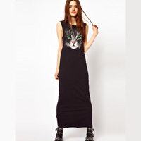 Fresh big green of the cat print sleeveless one-piece dress long tank dress haoduoyi design