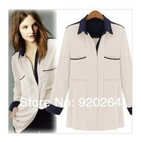 New 2014 spring Shirt large pockets of color mosaic leading blouses leisure patch work long-sleeve woman shirt&blouse Pluse size