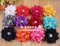 Free shipping!30pcs/los 12colors vintage chiffon shabby look flower rhinestone pearl center for headband hairband hair flower