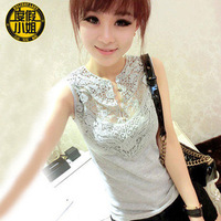 2014 summer female vest summer slim lace sleeveless patchwork T-shirt basic shirt cutout