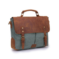 Europe and America retro canvas messenger bag with leather laptop briefcase