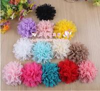 Hot Sale Free shipping!60pcs/lot 10cm 13colors multi layers handmade chiffon flower for baby headband DIY hair accessory