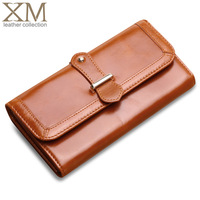 Vintage long design wax cowhide wallet female large capacity genuine leather purse multi women's card holder wallet q2121
