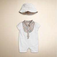 retail new 2014 2pcs baby girl clothing set short sleeve baby bodysuits+hat newborn clothes baby boy free shipping