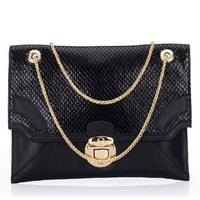 2014 New Fashion Black Color Genuine Leather Envelope Clutch Bag For Women Brand Handbag Chain Shoulder Bag Purse Evening Bag