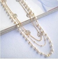 Free Shipping 2014 For nec  klace female long design fashion multi-layer pearl all-match necklace accessories
