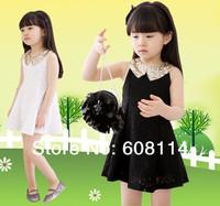 2014 New Summer Girls Dresses Sleeveless Lace Bling Bling Collar Children Dress Child Clothing For Girl