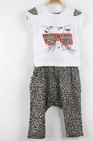 Korean girl summer sets pure cotton T-shirt cat  Eyes Leopard Pattern+ leopard baggy pants two piece suit  wholesale